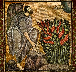 Byzantine mosaic of Moses and the Burning Bush